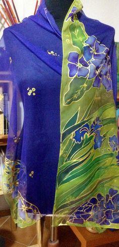 sciarpa in chiffon di seta dipinta a mano