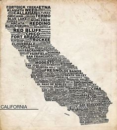 CA State w/ all the towns/cities in font.