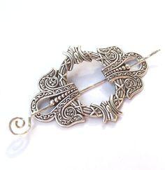 Silver Shawl Pin, Silver Shawl Pin, Scarf Pin, Hair Slide, wreath, oxidized silver, fall fashion, silver scarf pin. $18.00, via Etsy.