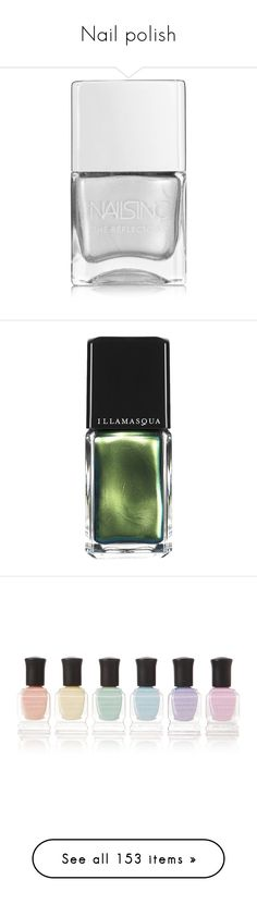 """Nail polish"" by kawaiipeachtea ❤ liked on Polyvore featuring beauty products, nail care, nail polish, makeup, nails, beauty, fillers, silver, shiny nail polish and nails inc nail polish"