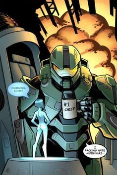 Now this is the way to get up I. The mornings Master Chief And Cortana, Halo Master Chief, Halo Game, Halo 3, Cortana Halo, Gaming Memes, Gamer Humor, Halo Funny, Humour