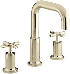 Purist Deck-Mount Bath Faucet Trim for High-Flow Valve with Cross Handles, Valve Not Included