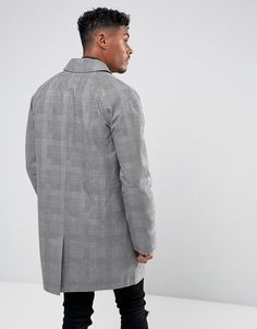 ASOS Shower Resistant Single Breasted Trench In Prince of Wales Check