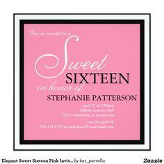 Elegant Sweet Sixteen Pink Invitation