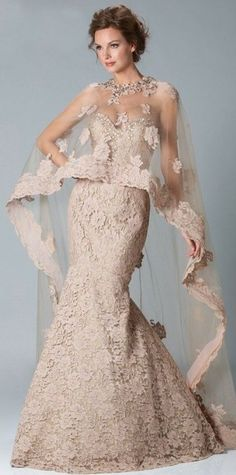 Gorgeous wedding dress love the color and the veil thinkness lace is to beautiful