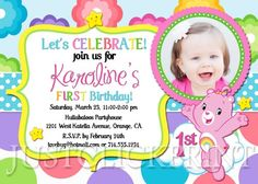 Rainbow Care Bear Birthday Photo Invitation Printable | DigitalDelight - Digital Art  on ArtFire