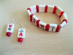 Mahjong bracelet and earring set with ruby beads by MAHJONGGREMADE on Etsy