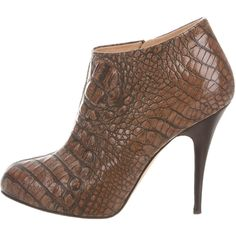 Pre-owned Giuseppe Zanotti Embossed Leather Booties ($155) ❤ liked on Polyvore featuring shoes, boots, ankle booties, brown, leather zipped booties, zipper boots, brown booties, leather booties and leather zipper boots
