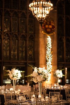 #Winter #white elevated floral centerpieces at the #universityclub of Chicago