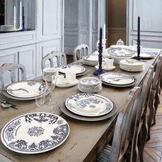 Gien French China - Heritage - 6 Assiettes plates - Assiettes - Pour la table - Faïence d'exception pour un art de vivre à la française