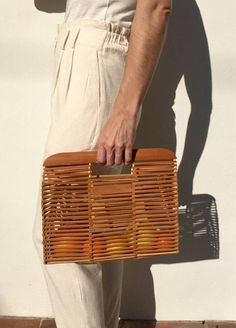 Rectangle Natural Bamboo Bag/ Wooden Tote -  New!