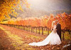 Autumn Wedding Bride + Groom Portrait