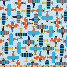 Ready Set Go Organic Airplanes Sky from @fabricdotcom  Designed by Ann Kelle for Robert Kaufman Fabrics, this organic cotton print fabric is perfect for quilt or craft projects, apparel and home décor accents. Colors include turquoise, navy, orange and yellow on a sky blue background. Has GOTS certifcation.