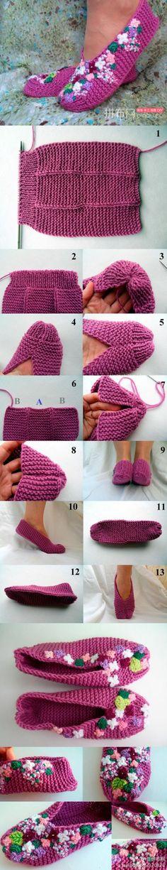 DIY Slippers Pattern looks like my first knitting project I made when I was about ten! Crochet Simple, Knit Or Crochet, Crochet Crafts, Knitted Slippers, Crochet Slippers, Slipper Socks, Loom Knitting, Knitting Socks, Socks