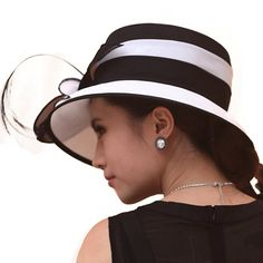 d3e5dae8b92ae June s Young Women Hat Formal Dress Hat Chiffon Fabric Feather Two Tone  Colors (black white) at Amazon Women s Clothing store