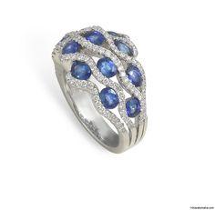 18 Karat White Gold, pave set diamond and sapphire ring. Available at 14 Karat Omaha
