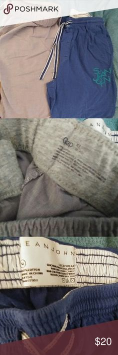 LOT OF 2 MEN'S PAJAMA PANTS SIZE XL AND M Lot of 2 Men's Pajamas.  Grey GAP lightweight cotton size XL.  Royal Blue Sean John Mid -Weight cotton Size M.  Both Gently Used.  Free gift included. Sean John Other