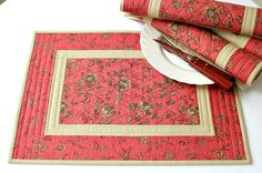 Quilted Placemats, Pink Coral Tan Table Mats, Table Quilt, Fabric Placemats, Flowers, Country Chic, Set of 4 placemats, Quiltsy Handmade by RedNeedleQuilts on Etsy
