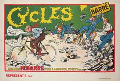 Cycles Barre original advertising lithography vintage transportation poster from France.