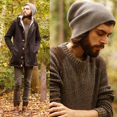 American Apparel Winter Jacket, Hm Green Jumper, Topman Brown Shoes, Cheap Monday Grey Skinnies
