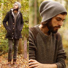 American Apparel Winter Jacket, Hm Green Jumper, Topman Brown Shoes, Cheap Monday Grey Skinnies