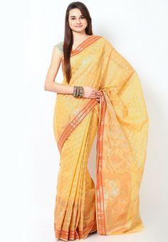 Bunkar Supernet Cotton Silk Banarasi Beige Saree - Buy Women Sarees Online | BU651WA23GBOINDFAS
