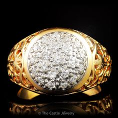 Kentucky Cluster 21 Diamond .50 cttw Ring 14K Yellow Gold Filigree Des – The Castle Jewelry