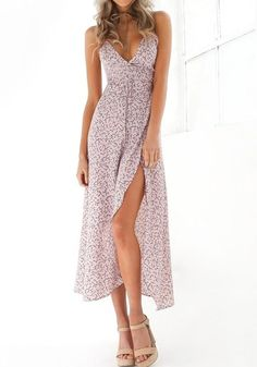 5f0c2057c4 Pink Flowers Spaghetti Strap Irregular Side Slit Backless V-neck Fashion  Maxi Dress