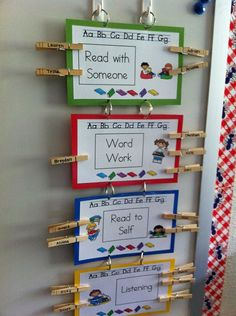 Daily 5 Choices... I like this and I have all these things in my classroom. Need to buy clothespins this year