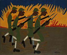 Under Fire by William H. Johnson / American Art William H Johnson, Henry Johnson, African American Art, American Artists, Harlem Renaissance Artists, Delta Blues, Afro Art, Black Artists, Poses