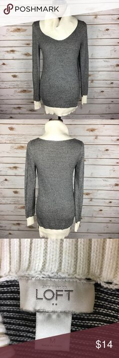 ANN TAYLOR LOFT Sz Medium Black & Beige Sweater Pre-owned ANN TAYLOR LOFT Women's Size Medium Black & White Stripe Turtleneck Sweater. Long sleeve.  *Bust is 16 inches laying flat. *Length is 29 inches from shoulder to bottom hem. LOFT Sweaters Cowl & Turtlenecks