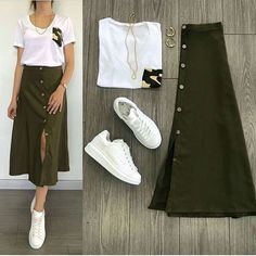 korean terno top and skirt. Casual Skirt Outfits, Business Casual Outfits, Mode Outfits, Chic Outfits, Spring Outfits, Trendy Outfits, Casual Dresses, Fashion Mode, Look Fashion