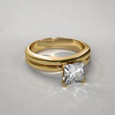 Conjunto de Boda con Diamante Corte Proncesa en Oro Amarillo de 14k - Argentina