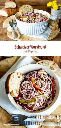Schweizer Wurstsalat mit Paprika – Home and Herbs Easy. This hearty salad tastes great for a hearty evening snack, picnic or in the office. Chorizo, Cauliflower Cheese Bake, Oven Vegetables, Beet Salad Recipes, Healthy Sauces, Herb Recipes, Evening Snacks, Great Appetizers, Yummy Snacks