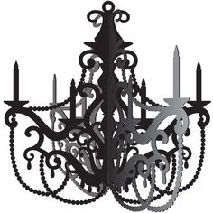 Party in Paris Black Chandelier Hanging Decoration | 1 ct