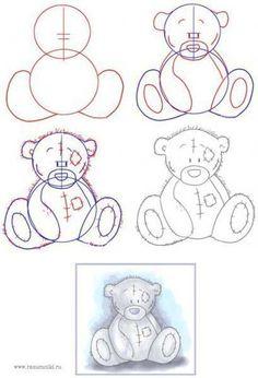 Aprende a dibujar fácilmente un osito de peluche.- Learn how to easily draw a teddy bear.