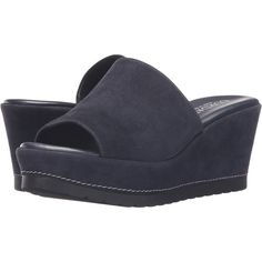 Cordani Derry (Navy Suede) Women's Wedge Shoes ($140) ❤ liked on Polyvore featuring shoes, sandals, blue, blue platform sandals, blue high heel sandals, navy wedge sandals, navy sandals and high heel sandals