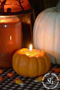 PUMPKIN CANDLE DIY AND $100.00 VISAL GIFT CARD GIVEAWAY-A fun and easy way to carve mini pumpkins into adorable candleholders-stonegableblog.com