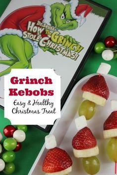Kids Healthy Christmas Treat Recipe  Grinch Kebobs via @everydaysavvy