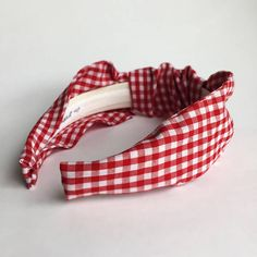 Gingham headband Red White gingham Top knot turban headband