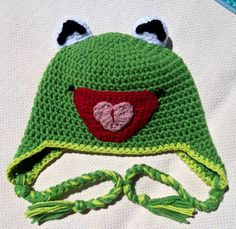 kermit the frog, crochet hat, hats women,hats for girls,hats for boys,hats for babies,halloween costume,childrens clothes,childrens clothing