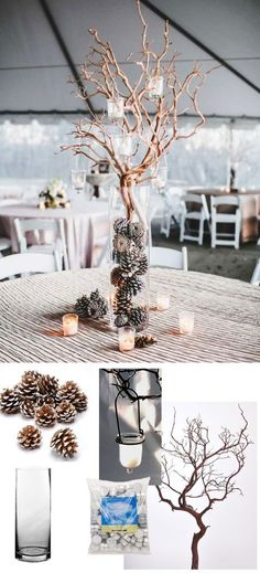 Simple wedding centerpiece for winter weddings. All of these products are from http://afloral.com. #diywedding