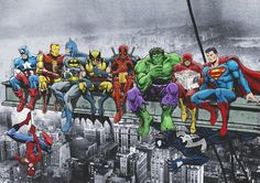 Superheroes Take a Lunch Break on a Steel Beam Atop the RCA Building