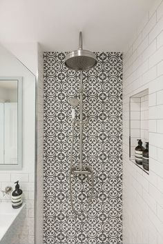 Shower enclosure with black and white cement tiles designed by Freeman & Whitehouse Interiors Downstairs Bathroom, Bathroom Renos, Bathroom Renovations, White Bathroom, Bathroom Ideas, Interior Design Studio, Bathroom Interior Design, Bathroom Design Small, Beautiful Bathrooms