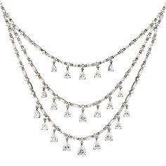 Ava CZ Three Row Teardrop Statement Necklace Lucille Cushion Cut CZ Bracelet in Silver by Thomas Laine Jewelry