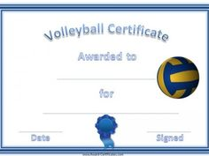 Volleyball Camp Certificate  Volleyball Certificates Free