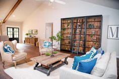 Love the pops of blue in this ranch home living room. HGTV Ranch Home Update, 20 Best Fixer Upper Rooms Fixer Upper Living Room, Fixer Upper Kitchen, My Living Room, Home And Living, Living Spaces, Living Area, A Thoughtful Place, Fixer Upper Decor, Inviting Home