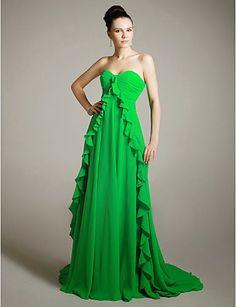 Vestido de Noche de Gasa Verde   Vestidos de Fiesta Baratos