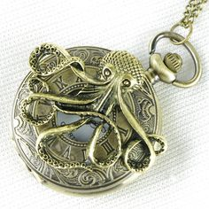 Steampunk octopus pocket watch locket necklace - Pirates of the Caribbean Necklace. $6.99, via Etsy.