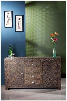 Embossed Brass Metal Sideboard